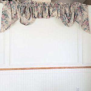 Vtg JC Penney Swags & Valances 7 Pcs Roses Floral
